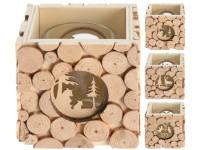 Svícen dřevo 80x80 mm vzor kruhy na čaj. svíčku mix
