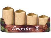 Emocio adventní stupně 4ks 40 mm Drápané zlaté svíčky