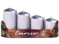 Emocio adventní stupně 4ks 40 mm Drápané stříbrné svíčky