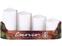 Emocio adventní stupně 4ks 40 mm Drápané perla bílé svíčky