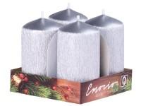Emocio adventní válec 4ks 40x75 Drápané stříbrné svíčky