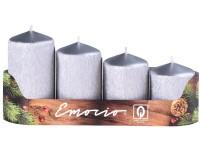 Emocio adventní stupně 4ks 50 mm Drápané stříbrné svíčky