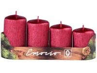 Emocio adventní stupně 4ks 50 mm Drápané červené svíčky