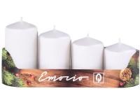 Emocio adventní stupně 4ks 50 mm Drápané perla bílé svíčky