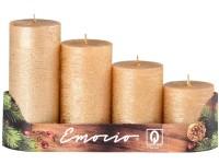 Emocio adventní stupně 4ks 50 mm Rustikální zlaté svíčky