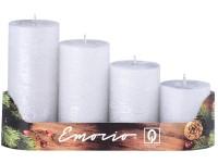 Emocio adventní stupně 4ks 50 mm Rustikální stříbrné svíčky