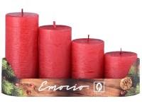 Emocio adventní stupně 4ks 50 mm Rustikální metal červené svíčky
