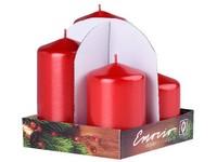Emocio adventní stupně 4ks 60 mm Metal červené svíčky