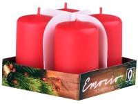 Emocio adventní válce 4ks 38x60 červené svíčky