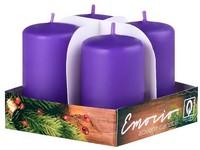 Emocio adventní válec 4ks 38x60 tm. fialové svíčky