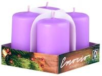 Emocio adventní válec 4ks 38x60 sv. fialové svíčky
