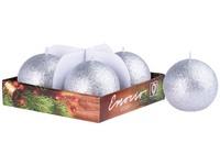 Emocio adventní koule 4ks 60 mm Brokát stříbrné svíčky