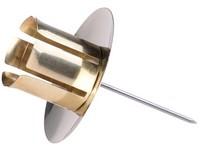 Svícen kov zlatý se zápich, na domácí a kón. svíčku