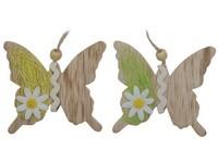 Závěs 2 ks motýl dřevo
