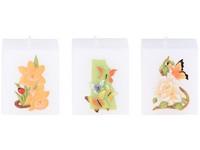Hranol Motýli, květiny 60x70 bílá vonná svíčka mix