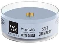 Woodwick Soft Chambray svíčka petite