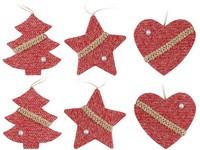 Závěs 6 ks, 60 mm  srdce, hvězda, stromek, mix pletený červený
