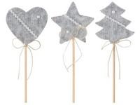 Zápich textil 60 mm Srdce, Hvězda, Stromek pletený šedý mix