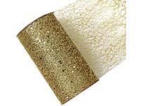 Stuha síť s glittrem zlatá, 15cm x 2,7m
