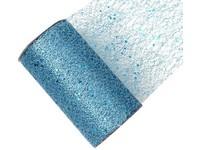 Stuha síť s glittrem světlá modrá, 15cm x 2,7m