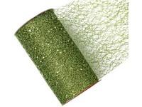 Stuha síť s glittrem světlá zelená, 15cm x 2,7m