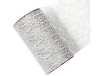 Stuha síť s glittrem bílá, 15cm x 2,7m