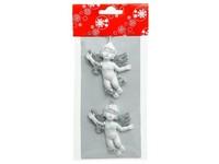 Anděl polystone 2 ks 60 mm bíllostříbrný se závěsem