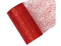 Stuha síť s glittrem červená, 15cm x 2,7m