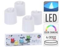 LED čajová svíčka 4ks 50 mm barevná, mix s časovačem