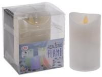 LED svíčka bílá, reálný plamen 75x100 mm měnící barvu s časovačem