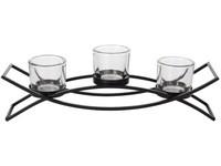 Svícen kov 350 mm černý na 3 ks čaj. svíček
