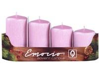 Emocio adventní stupně 4ks 40 mm Drápané perla růžové svíčky