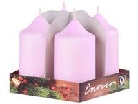 Emocio adventní válec 4ks 40x80 růžové svíčky