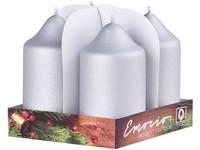 Emocio adventní válec 4ks 50x90 exclusive mat. stříbrné svíčky