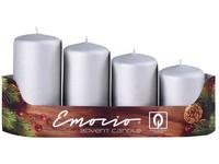 Emocio adventní stupně 4ks prům.40mm exclusive mat. stříbrné svíčky