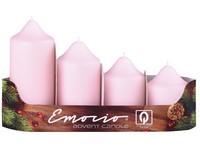 Emocio adventní stupně 4ks prům.50mm růžové svíčky