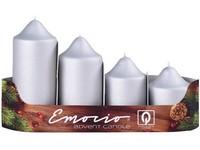 Emocio adventní stupně 4ks prům.50mm exclusive mat. stříbrné svíčky