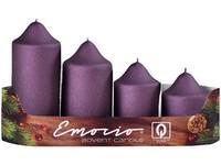 Emocio adventní stupně 4ks prům.50mm exclusive mat. švestkové svíčky
