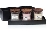 WoodWick dárkový set Fireside,Coastal,Vanilla Bean váza malá 3 ks