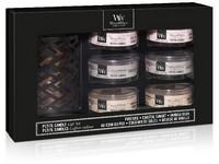 WoodWick dárkový set Deluxe Fireside,Coastal,Vanilla Bean svíčka petite 6 ks
