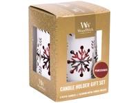 WoodWick dárkový set White Snowflake Pomegranate svíčka petite 3 ks + svícen