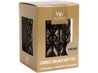 WoodWick dárkový set Gemometric Fireside svíčka petite 3 ks + svícen