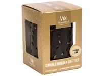 WoodWick dárkový set Glowing leaf Vanilla Bean svíčka petite 3 ks + svícen