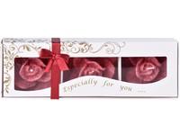 Stearin Růže 3ks vonná svíčka v krabičce červená