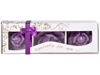 Stearin Růže 3ks vonná svíčka v krabičce borůvkové dobrodružství