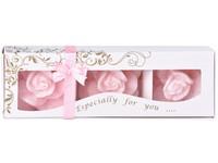 Stearin Růže 3ks vonná svíčka v krabičce růžová