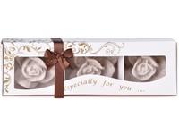 Stearin Růže 3ks vonná svíčka v krabičce pouštní písek