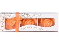 Stearin Růže 3ks vonná svíčka v krabičce pomerančová