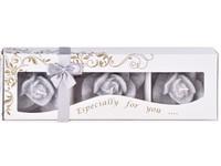 Stearin Růže 3ks vonná svíčka v krabičce magnolie