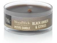 Woodwick Black Amber & Citrus svíčka petite